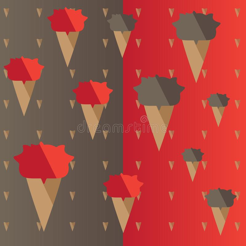 Vector of red and brown ice cream icon background. stock photography
