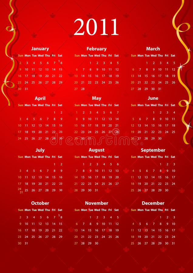 Download Vector Red Calendar 2011 Stock Images - Image: 16132014
