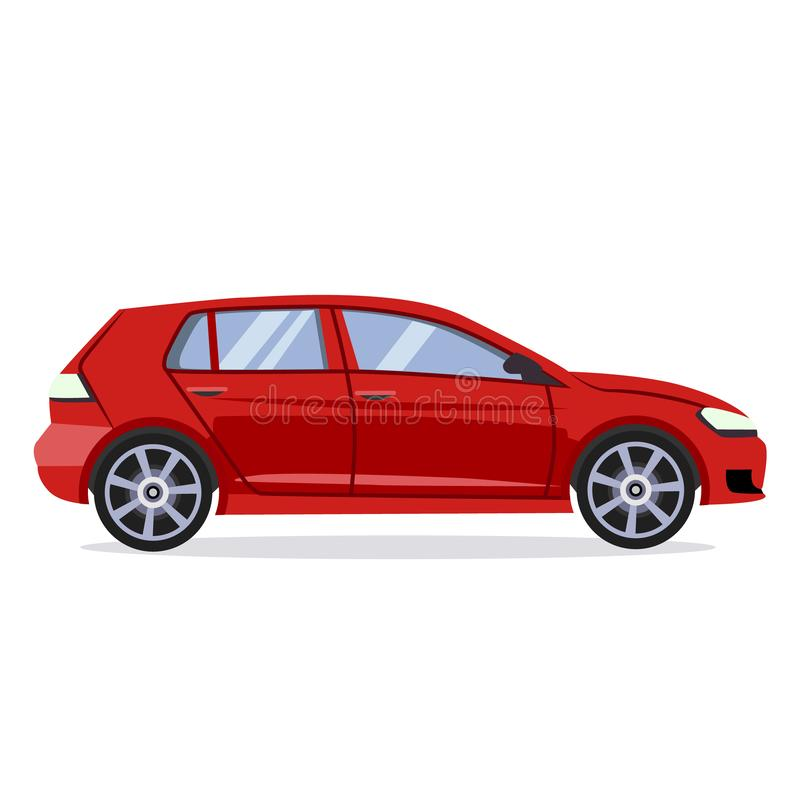 Vector red car. Flat style illustration concept royalty free illustration