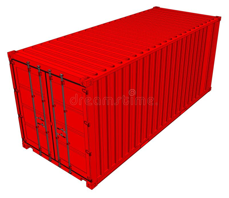 Vector of red cargo container. Transportation template. Vector rendering of 3d royalty free illustration