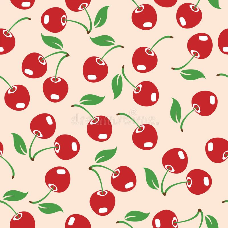 Vector red cherry seamless pattern royalty free stock image