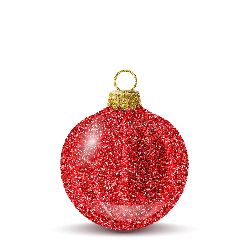 Vector red christmas ball with glitter texture. Red christmas ball. Shiny glitter sequins texture. Realistic decoration for christmas tree or new year stock illustration
