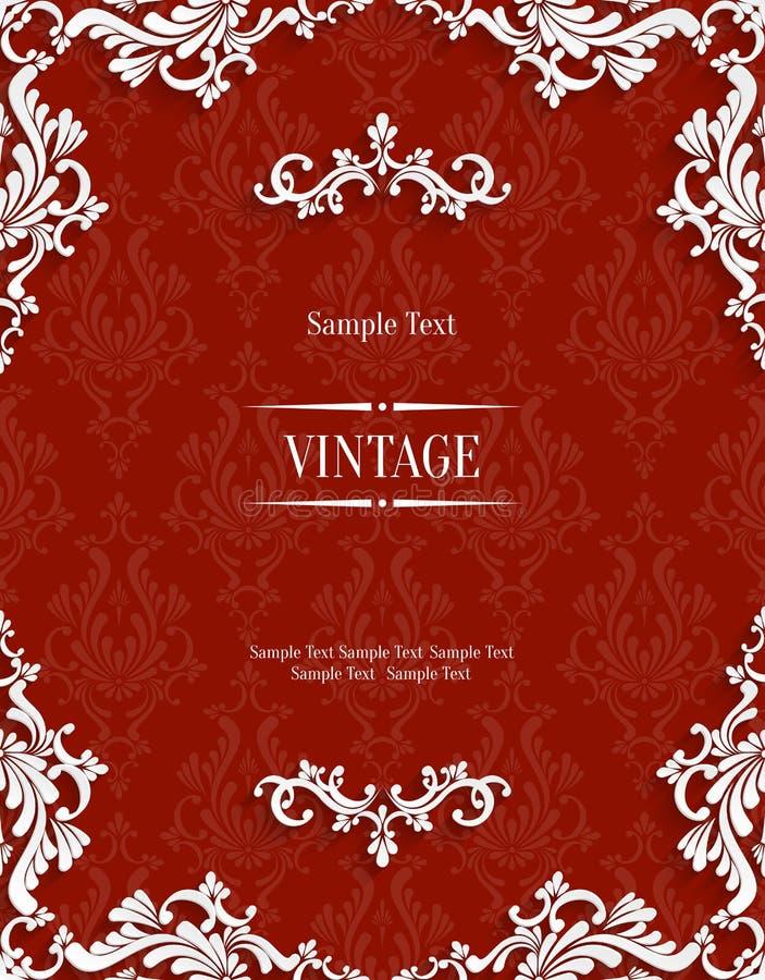 Vector Red 3d Vintage Invitation Card with Floral Damask Pattern vector illustration