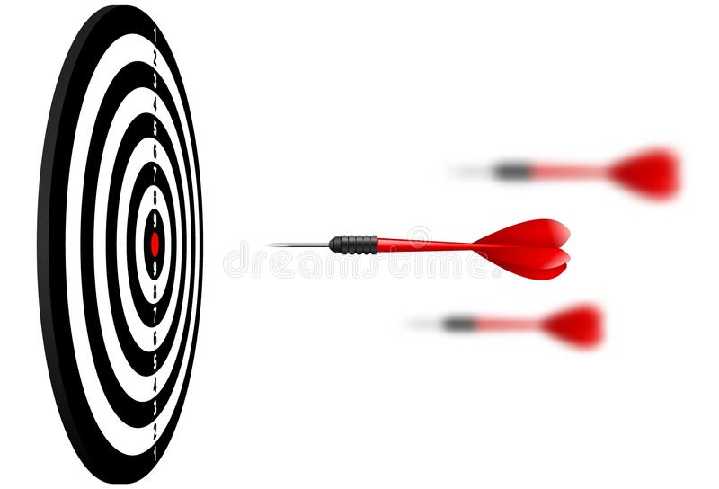 Vector red dart arrows flying to target dartboard. Metaphor to target success, winner concept. Isolated on white background. vector illustration