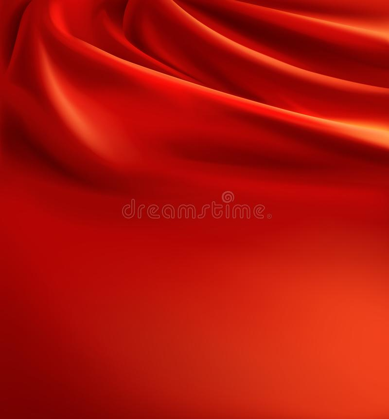 Vector red fabric background, luxury silk cloth. Vector 3d realistic red fabric background, luxury silk cloth with folds. Wavy scarlet canvas, satin or velvet stock illustration