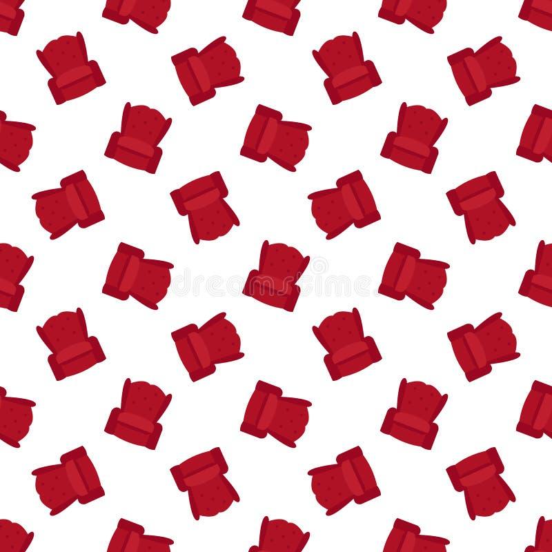 Vector red flat armchair seamless pattern stock illustration