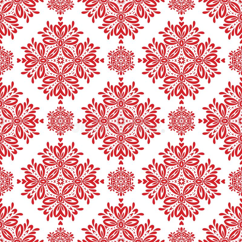 Vector Red Floral Seamless Pattern for Background royalty free illustration