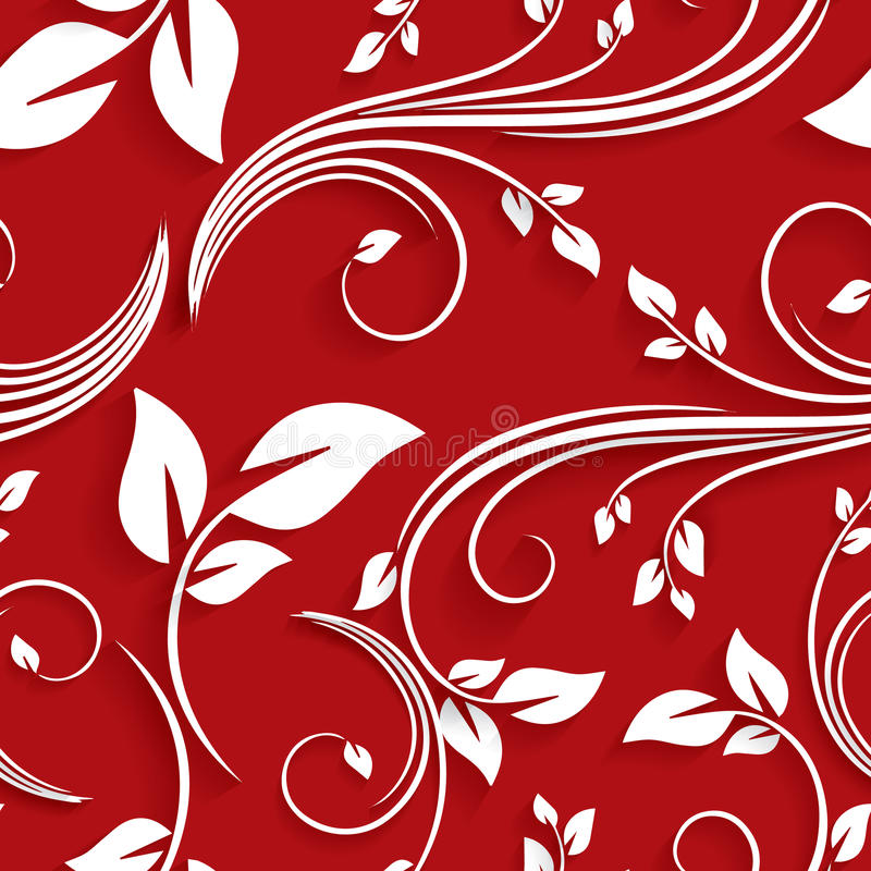 Vector Red Floral Victorian Seamless Background Invitation, Wedding, Paper cards Decorative Pattern royalty free stock photos