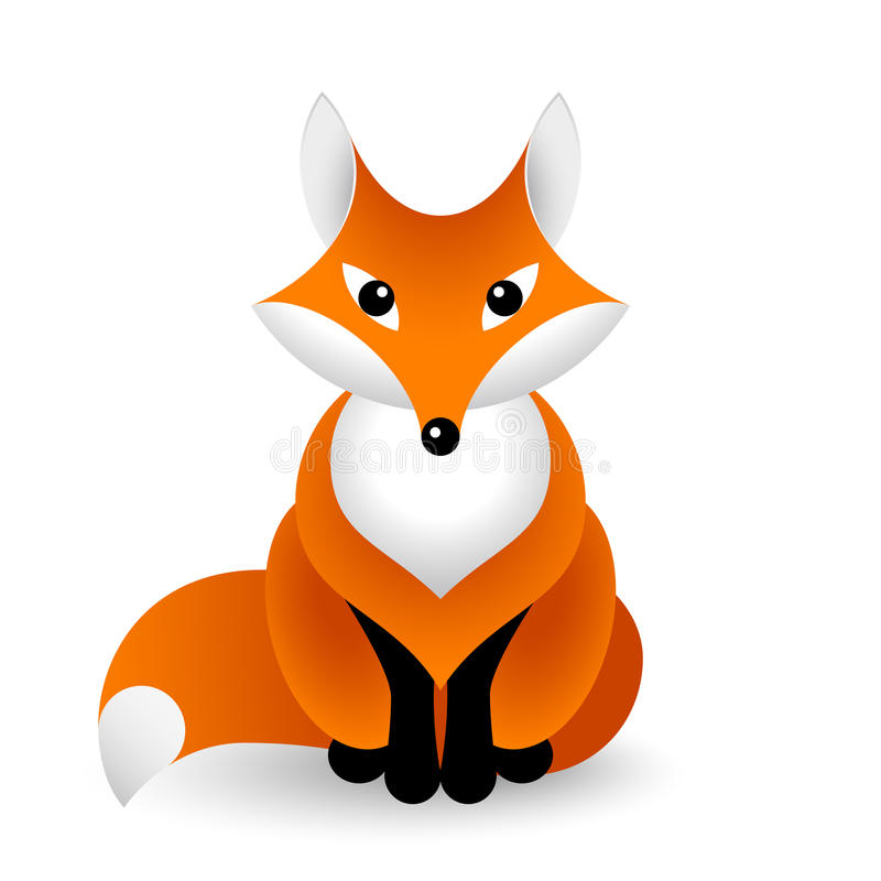 Vector red fox in front view stock illustration