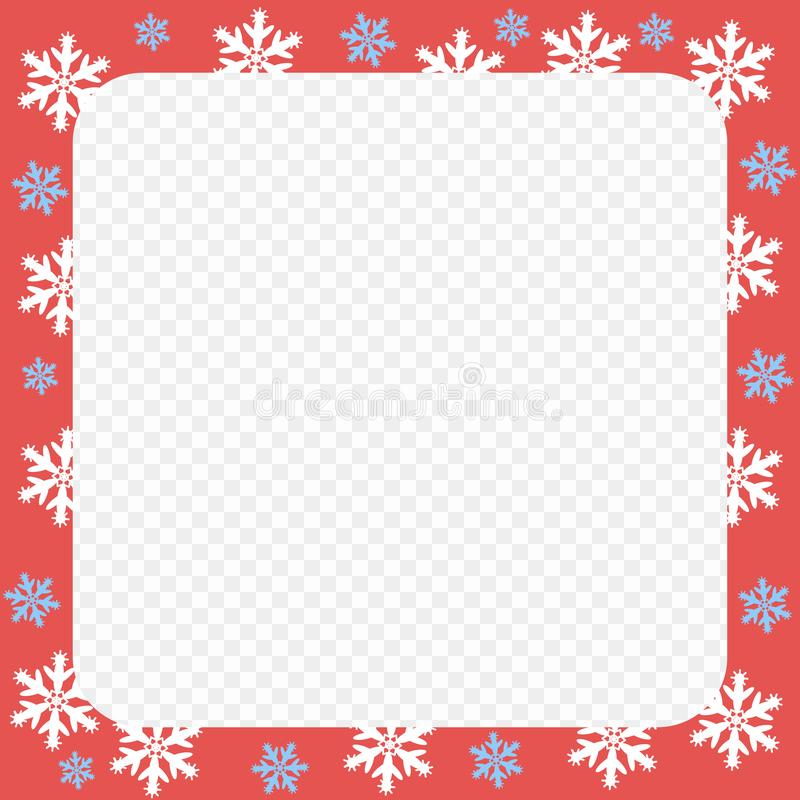 Vector red frame pattern. Christmas and New year with white and blue snowflakes. Transparent isolated background. vector illustration