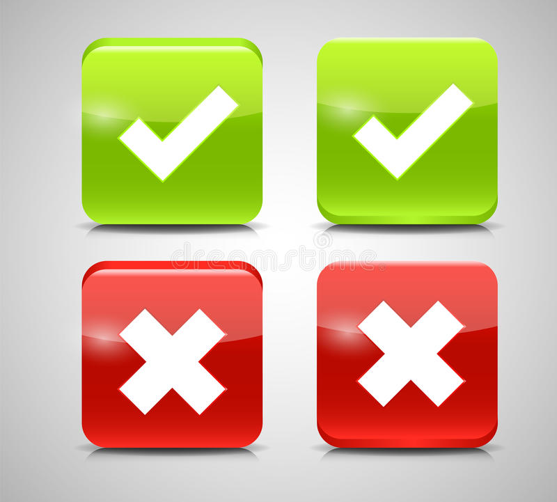 Vector Red and Green Check Mark Icons royalty free illustration