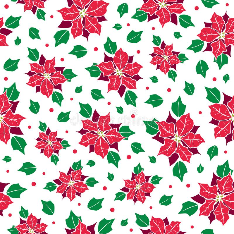 Vector red, green poinsettia flower and holly berry holiday seamless pattern background. Great for winter themed vector illustration