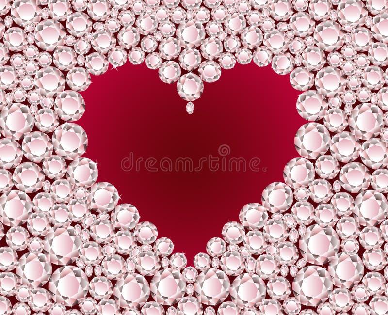 Vector red heart on diamond background vector illustration