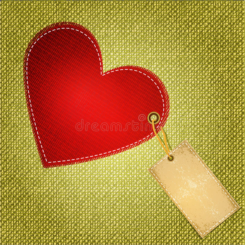 Vector red heart textile with label