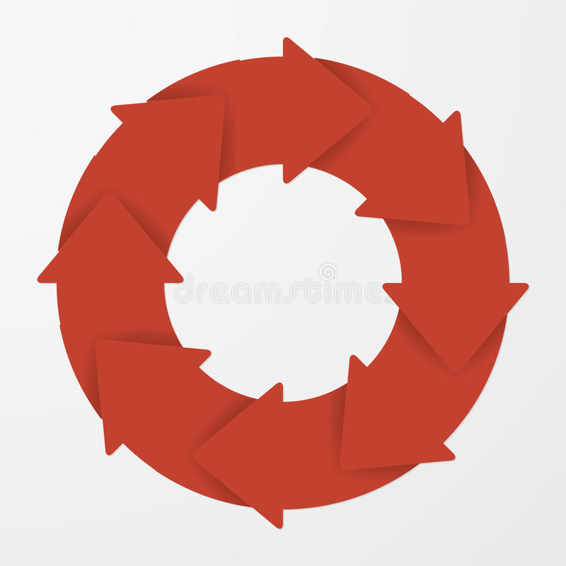 Vector red life cycle arrow diagram. 8 Steps. Vector red life cycle diagram. 8 Steps royalty free illustration