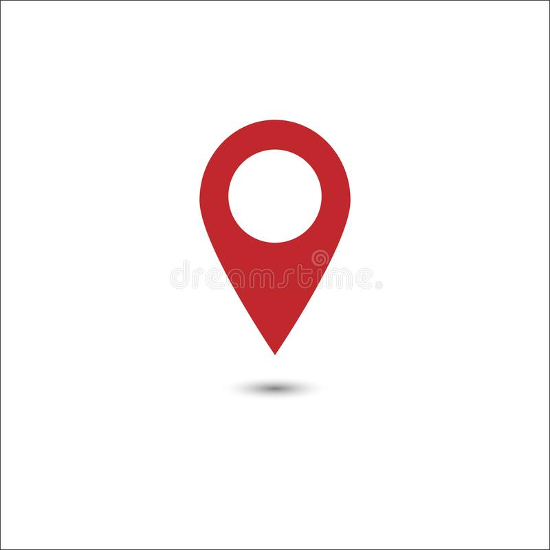 Vector of red map pointer icon. GPS location symbol. Flat design vector illustration