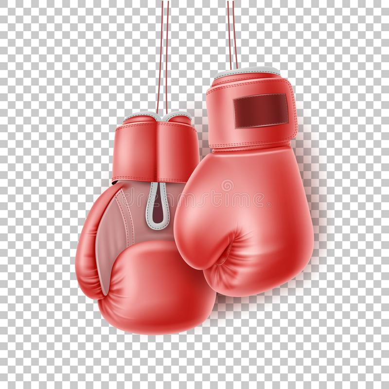 Vector red pair of boxing glove on lace realistic. Boxing glove hanging on lace. Realistic red pair of box fist protection equipment. Vector boxer sportswear for stock illustration