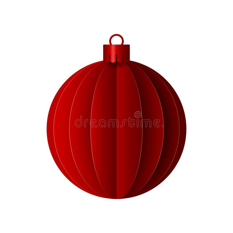Vector red paper christmas origami ball. Design elements for holiday cards. stock illustration