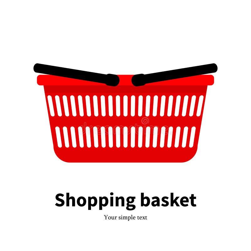 Vector red plastic empty shopping basket vector illustration