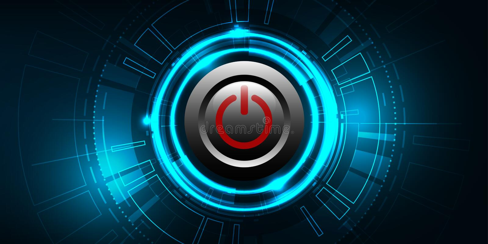 Vector red power button on technology background. royalty free illustration