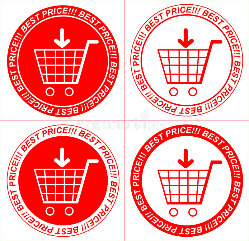 Vector red price tags, stickers, trolley vector illustration