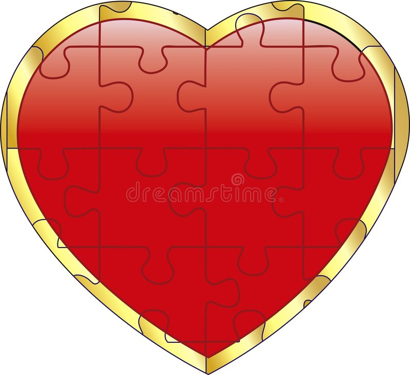 Vector Red Puzzle On Heart Stock Images
