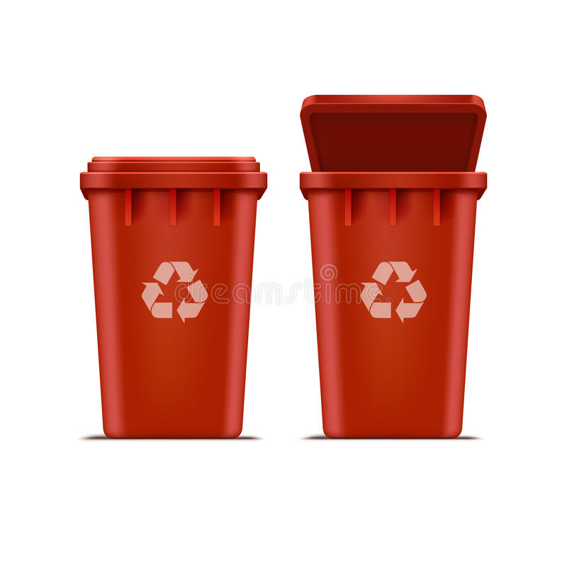Vector Red Recycle Bin for Trash and Garbage. Isolated on White Background vector illustration
