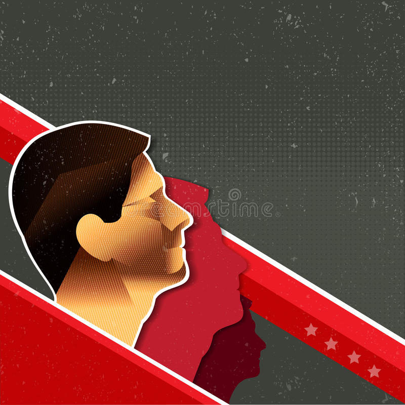 Vector Red Retro Communist Background With People Royalty Free Stock Photo