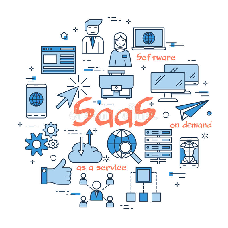 Blue round SaaS concept royalty free illustration