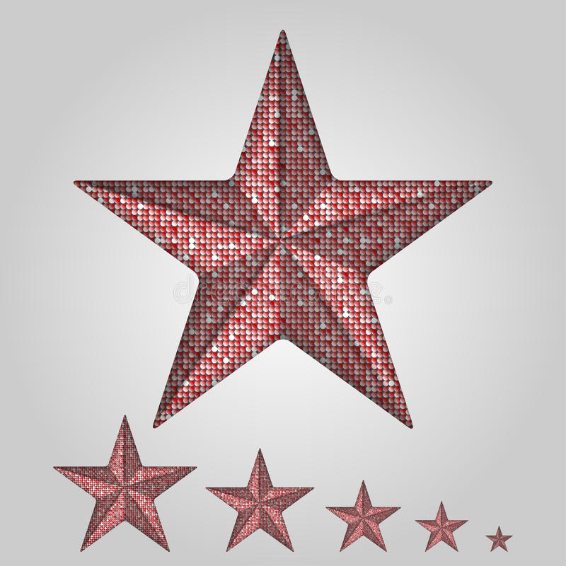 Vector red star with elements of sequins. royalty free illustration