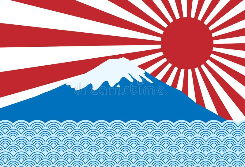 Vector of red sun ray of japan rising sun with fuji san and blue. Wave stock illustration