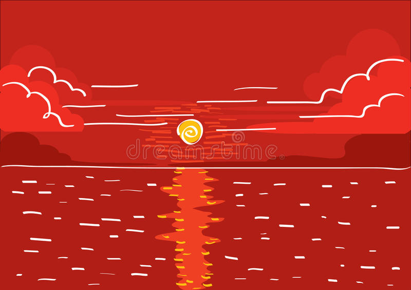 Vector red sunset.Landscape royalty free stock photo