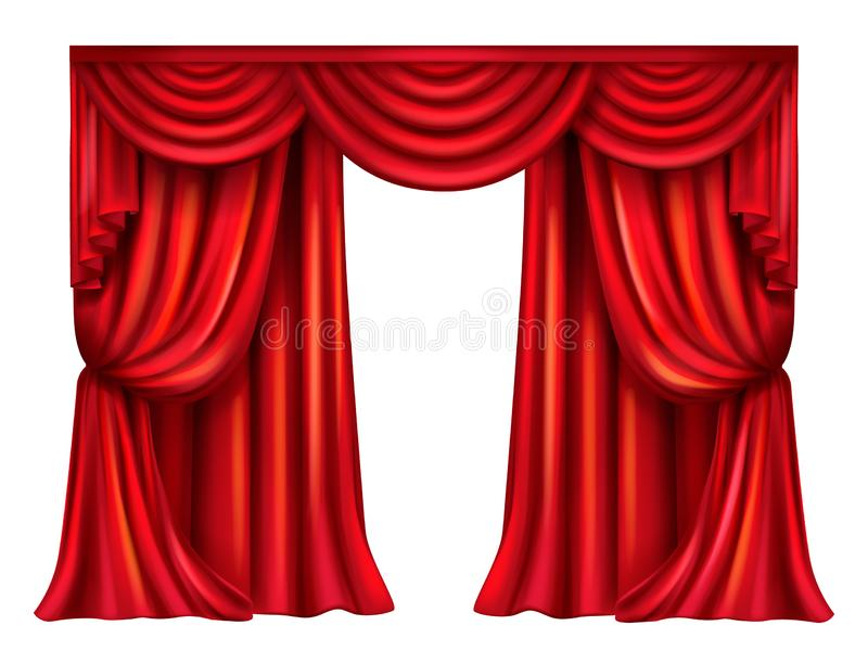 Vector red theatrical curtain on white background. Vector silk, velvet theatrical curtain with folds isolated on white background. Decoration element for stock illustration