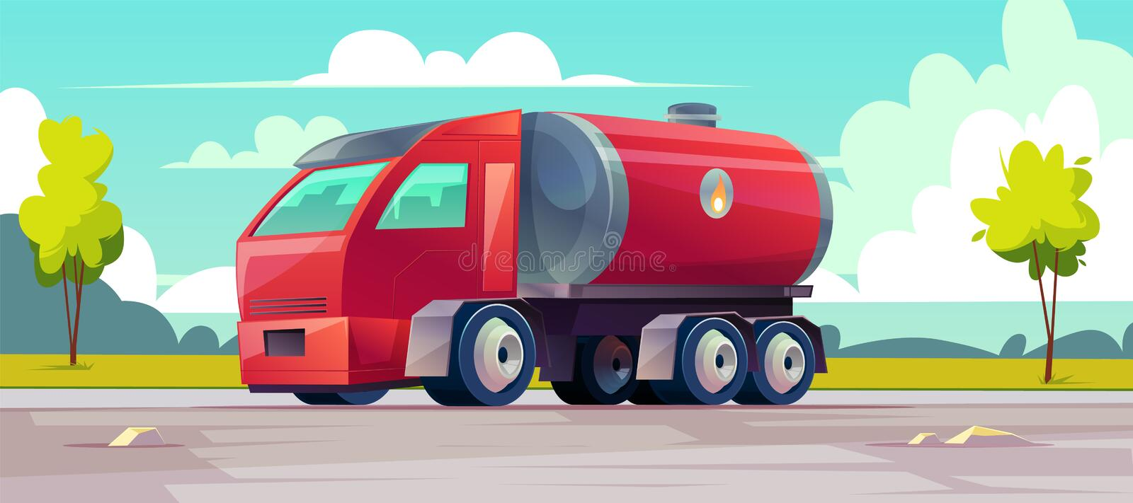 Vector red truck with gasoline in tank. vector illustration