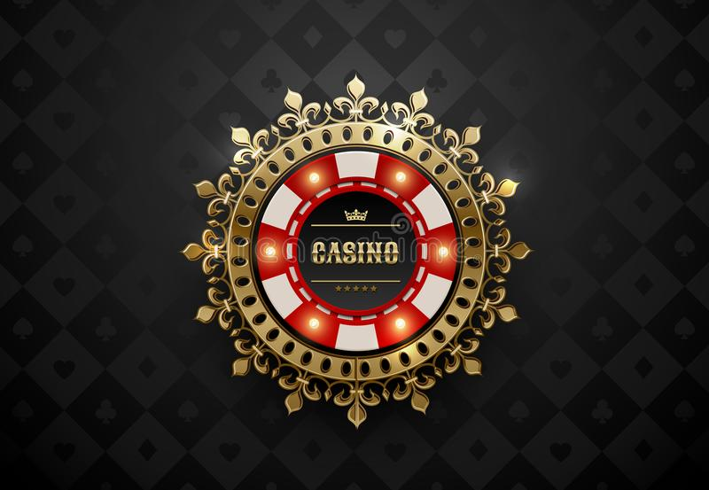 Vector red white casino poker chip with luminous light elements and golden crown wreath frame. Black silk geometric card suits royalty free illustration