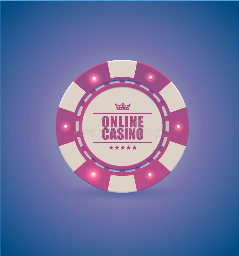 Vector red white casino poker chip with luminous light elements. Purple retro effect background. Poker club text, blackjack. Or online casino banner, eps 10 vector illustration