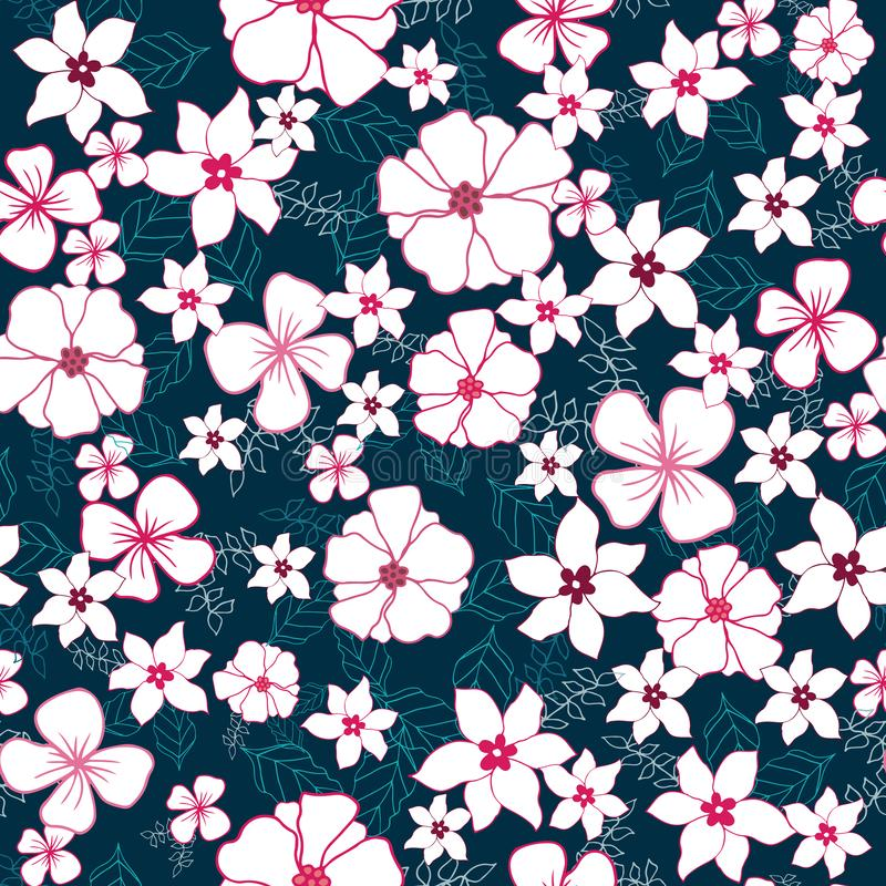 Vector Red and White Flower Mix Seamless Pattern royalty free illustration