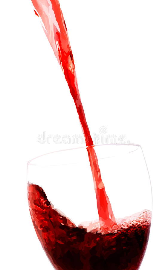 Vector red wine stream flows into glass. Filled with solid colors only royalty free illustration