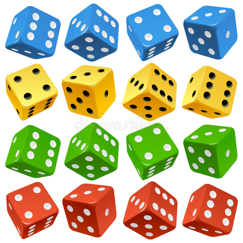 Free Vector Red, Yellow, Green And Blue Dice Set Stock Photography - 27182452