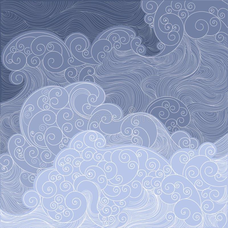 vector a rede de pesca azul das ondas, a tempestade no mar ou o oceano ilustração stock
