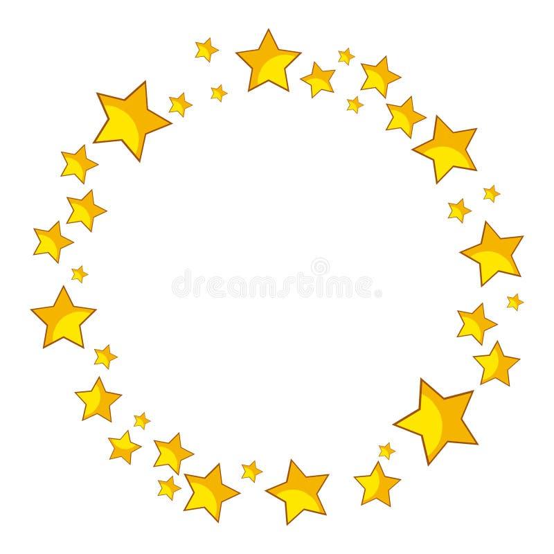 Vector redondo de la frontera de las estrellas de oro ilustración del vector