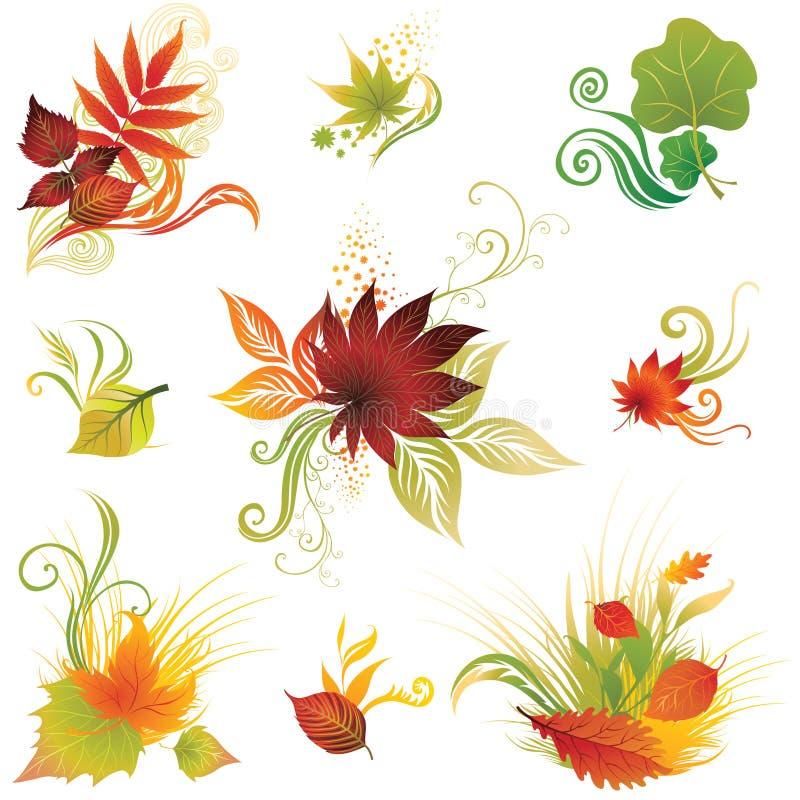 Vector Reeks 3 Van De Kleurrijke Herfst Doorbladert Stock Fotografie