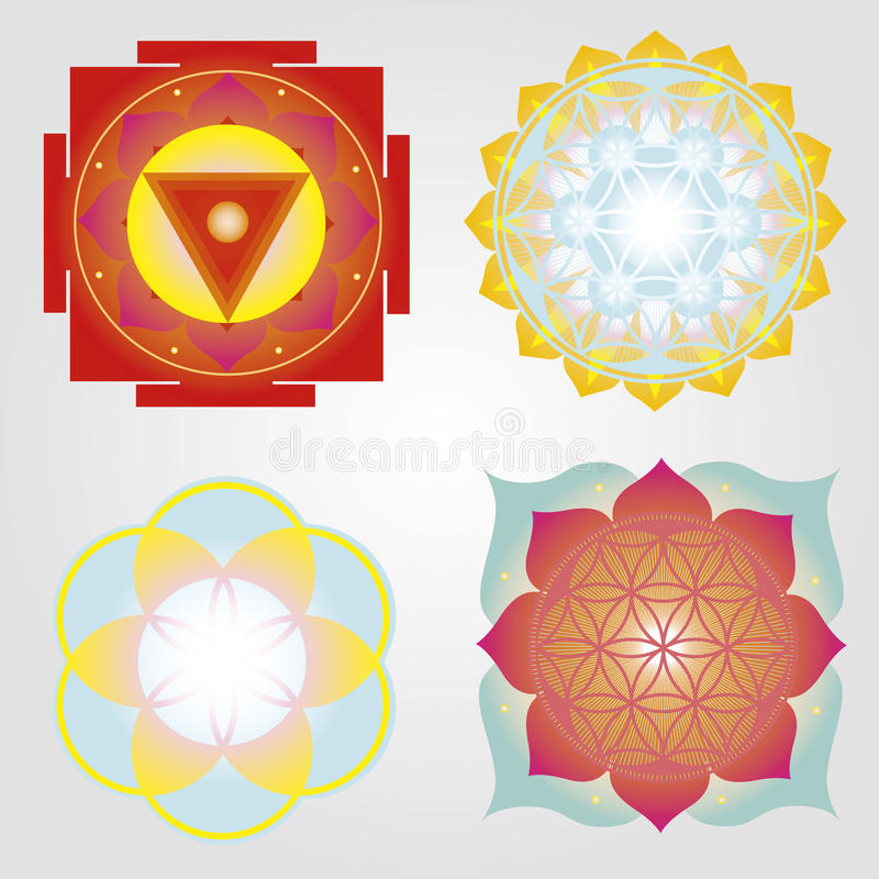 Mandalas en reeks Yantras vector illustratie