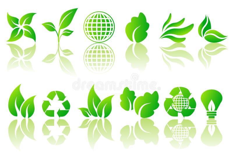Vector reeks ecologische symbolen vector illustratie