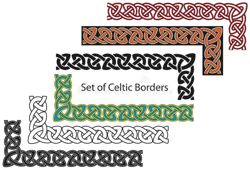 Vector reeks grenzen In Keltische stijl royalty-vrije stock foto
