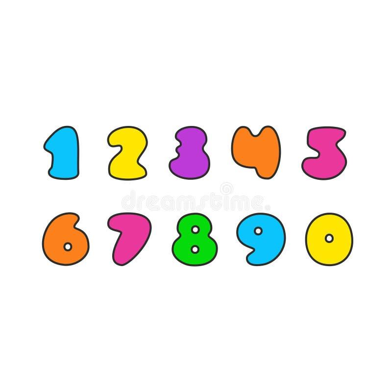 Vector reeks kleurrijke aantallen royalty-vrije illustratie