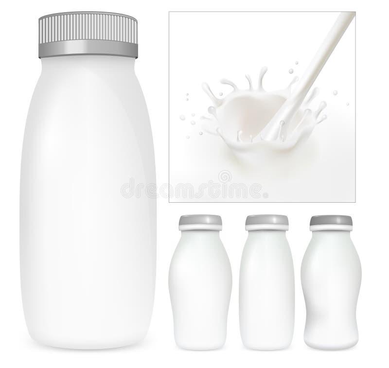 Vector reeks lege melk en yoghurtpakken. vector illustratie