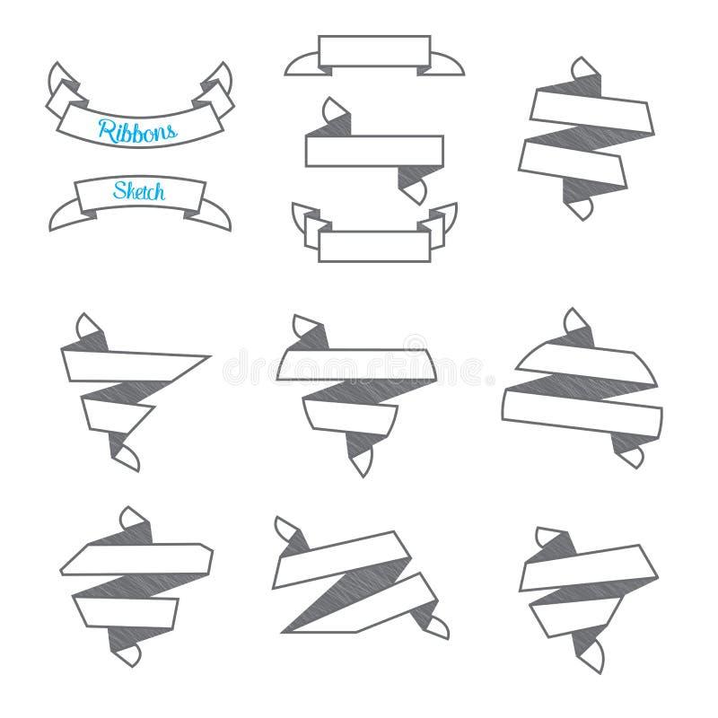 Vector: Reeks Moderne abstracte linten in schetsstijl, gebruik voor royalty-vrije illustratie