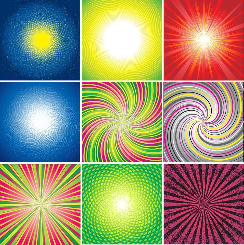 Vector reeks multicolored glanzende achtergronden royalty-vrije illustratie