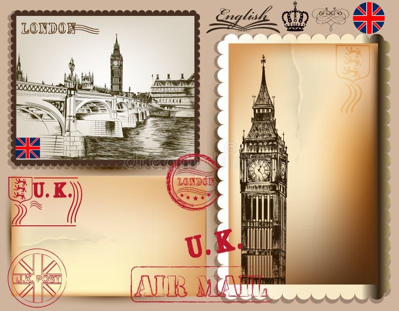 Inzameling van uitstekende vectorprentbriefkaaren met gedetailleerd Londen stock illustratie